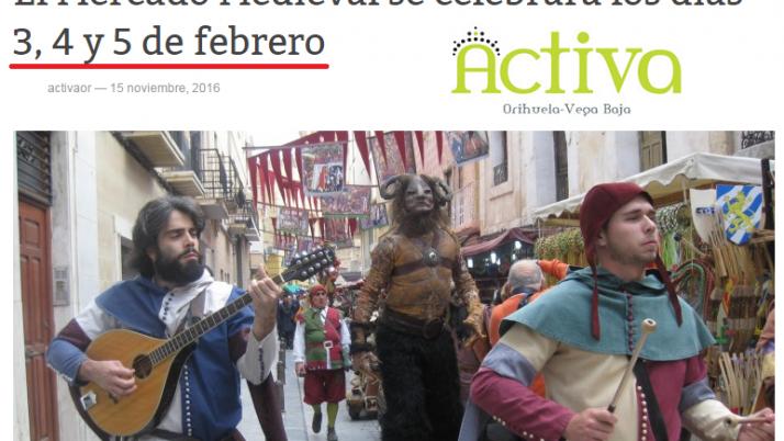 Mercado Medieval Orihuela 2017: días 3, 4 y 5 de Febrero